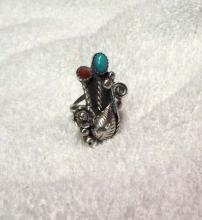 Castle Dome Turquoise & Coral Ring Signed