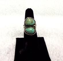 Double Green Turquoise Unisex Ring Sterling