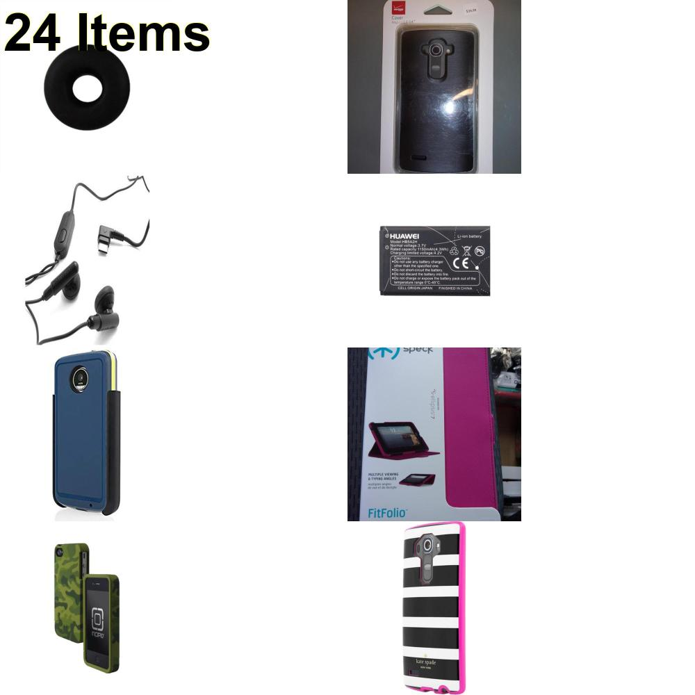 24 X **NEW** Phone Cases, Electronics and More (Huawei,Incipio,Jawbone,Kate Spade,Samsung,Speck,Verizon)