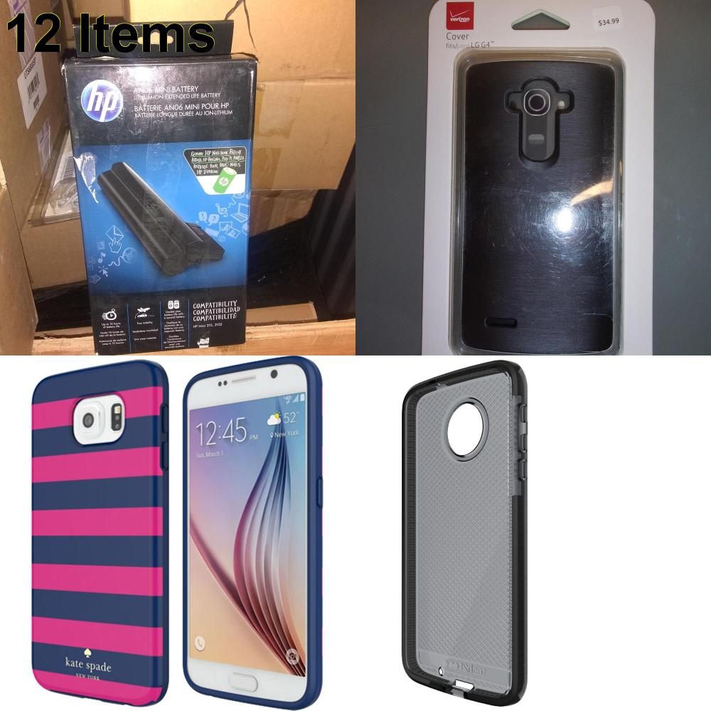 12 X **NEW** Phone Cases, Electronics and More (HP,Kate Spade,Tech21,Verizon)