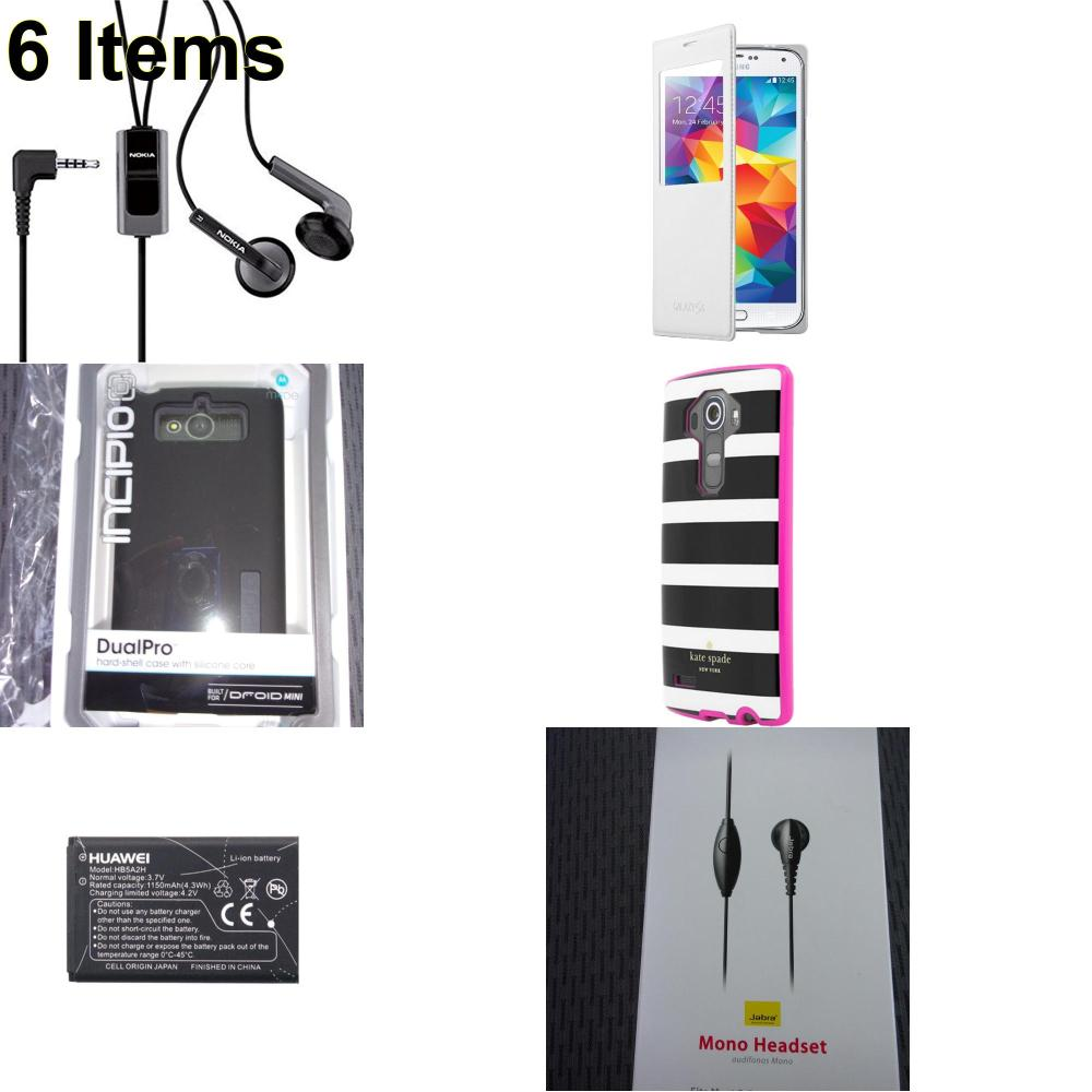 6 X **NEW** Phone Cases, Electronics and More (Huawei,Incipio,Jabra,Kate Spade,Nokia,Samsung)