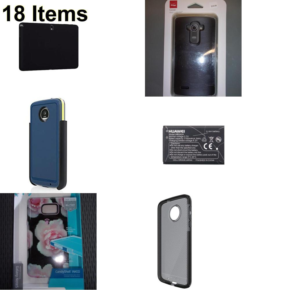 18 X **NEW** Phone Cases, Electronics and More (Huawei,Incipio,Speck,Tech21,Verizon)