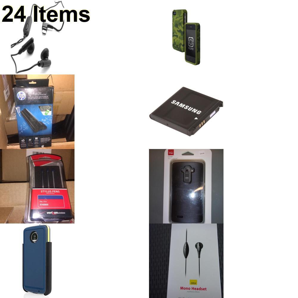 24 X **NEW** Phone Cases, Electronics and More (HP,Incipio,Jabra,Samsung,UTStarcom,Verizon)