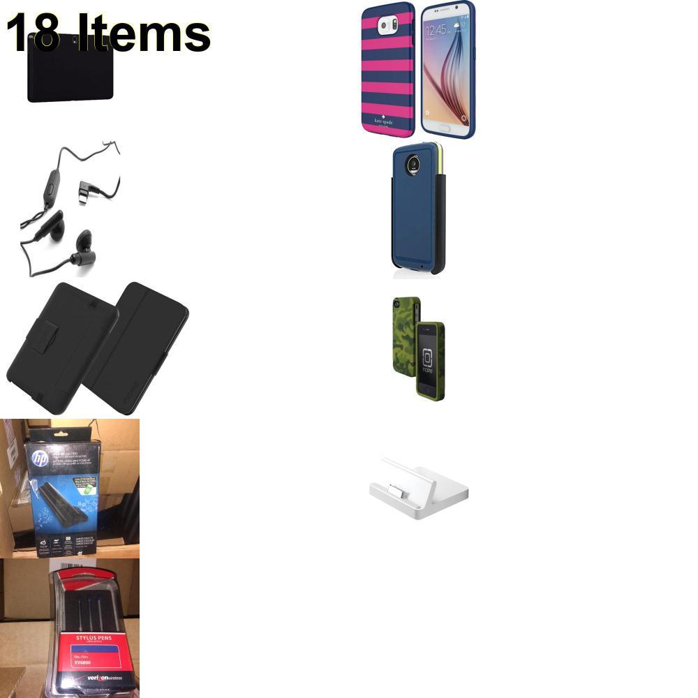 18 X **NEW** Phone Cases, Electronics and More (Apple,Cas-Mate,HP,Incipio,Jabra,Kate Spade,Samsung,Speck,UTStarcom,Verizon)