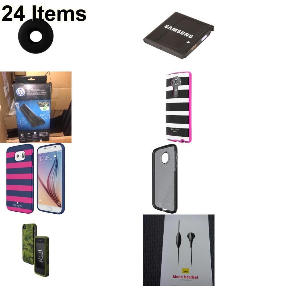 24 X **NEW** Phone Cases, Electronics and More (HP,Incipio,Jabra,Jawbone,Kate Spade,Samsung,Tech21)