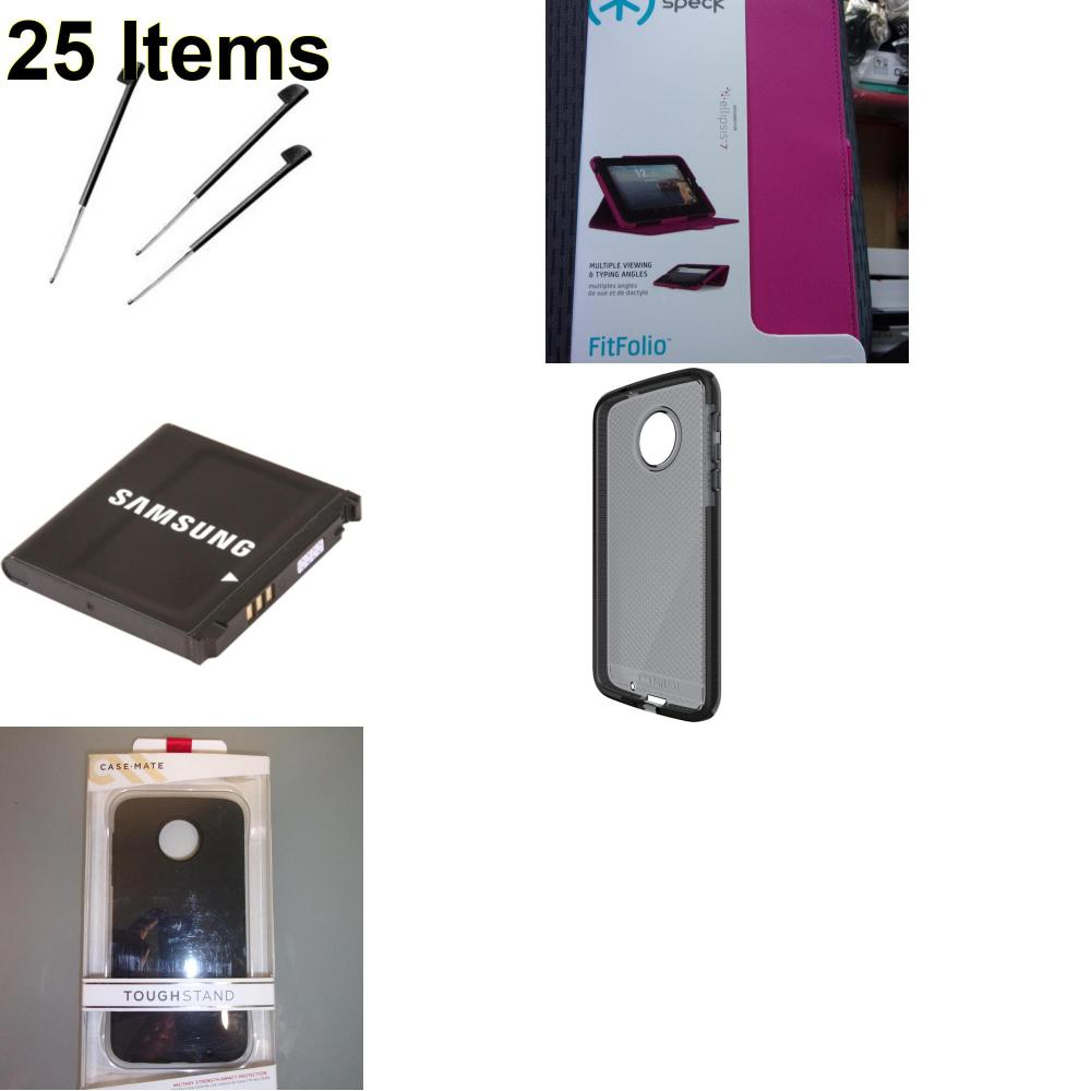 25 X **NEW** Phone Cases, Electronics and More (Cas-Mate,Palm,Samsung,Speck,Tech21)