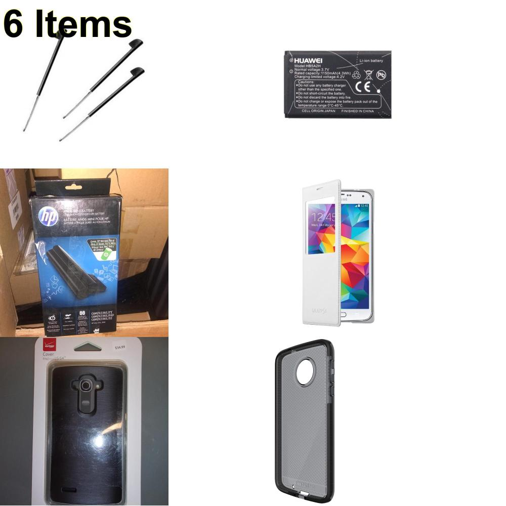 6 X **NEW** Phone Cases, Electronics and More (HP,Huawei,Palm,Samsung,Tech21,Verizon)