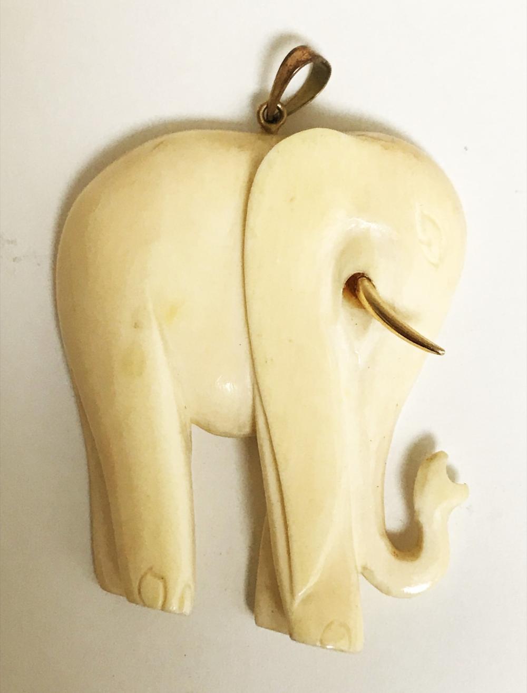Vintage Hand Carved Bone Elephant Pendant