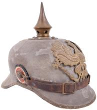 PRUSSIAN FUR FELT BODIED CLOTH COVERED ENLISTED MANS PICKELHAUBE