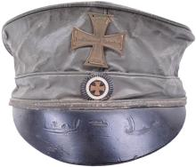 PRUSSIAN LANDSTURM M1813 ENLISTED MANS FIELD GREY OILCLOTH PEAKED CAP