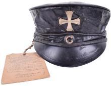 MODEL 1813 PRUSSIAN LANDSTURM BLACK OILSKIN SERVICE CAP