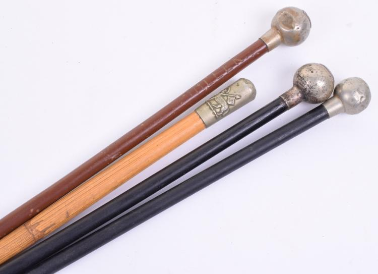 Four British Regimental Swagger Sticks