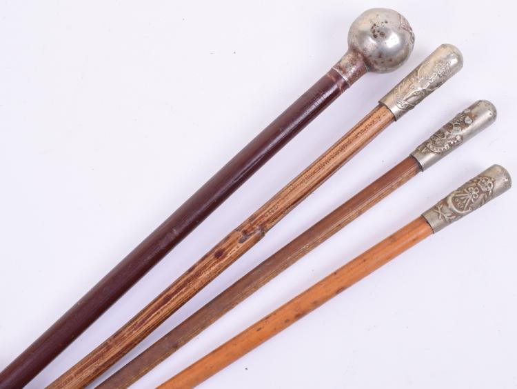 Four British Infantry Regimental Swagger Sticks