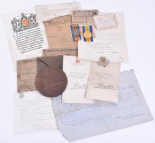 Great War 1917 Casualty Medal & Document Grouping Awarded to a Private Soldier in the 12th Battalion Cheshire Regiment