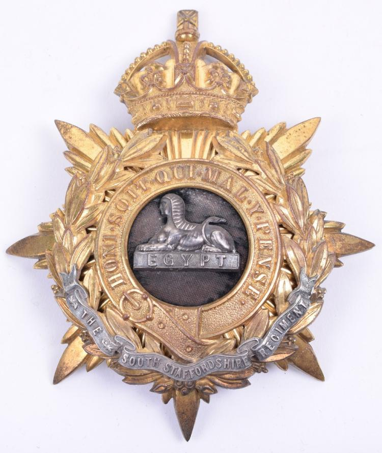 Post 1902 The South Staffordshire Regiment Officers Helmet Plate