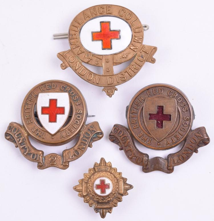 London District Ambulance Column Red Cross Cap Badge