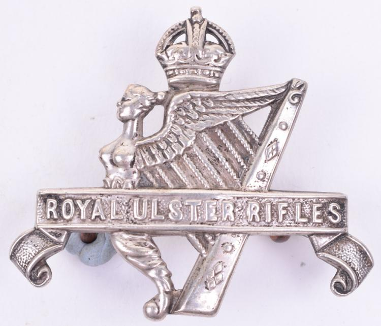 Sterling Silver Royal Ulster Rifles Officers Cap / Beret Badge