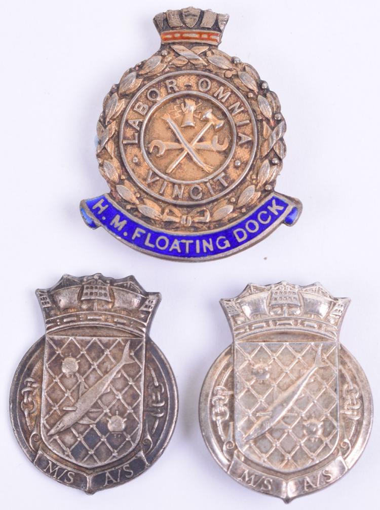 HM Floating Dock Sterling Silver and Enamel Badge