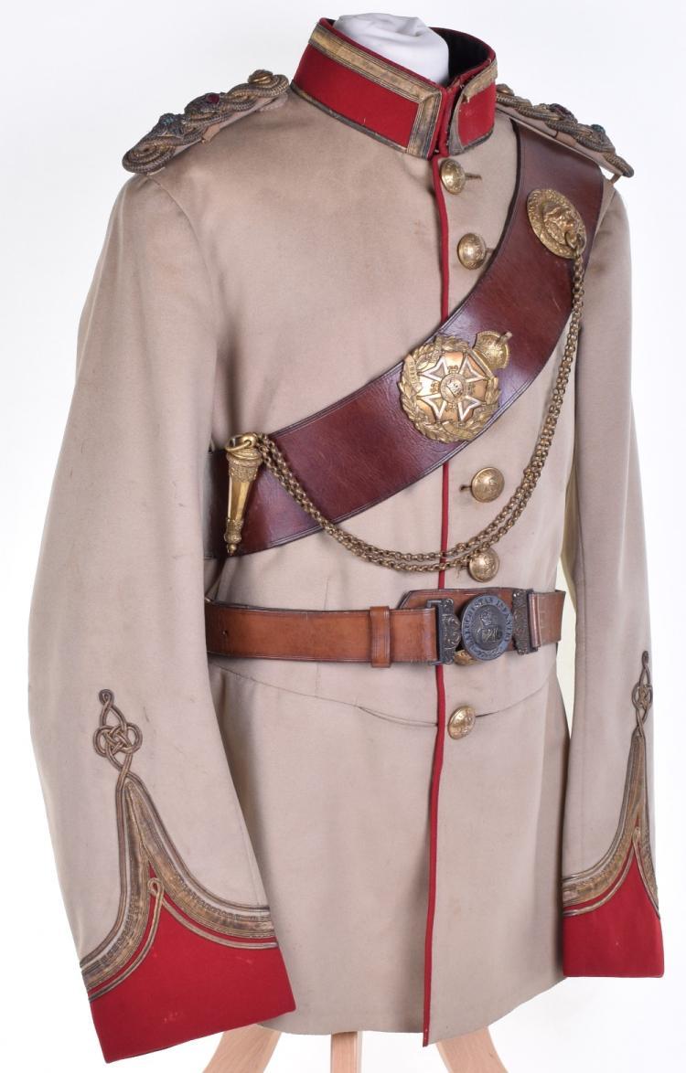 Full Dress Uniform of Lieutenant Colonel A T Rowlandson 124th Baluchistan Infantry & Cross Belt and Waist Belt of 126th Baluchistan Infantry