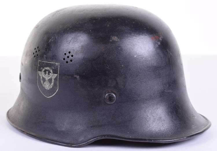 WW2 German Civilian Police / Fire Police Steel Helmet