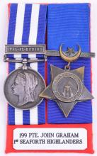 Egypt & Sudan Campaign Pair Awarded to 199 Private J Graham 1st Battalion Seaforth Highlanders