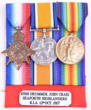 1914 Star Medal Trio Drummer John Craig Seaforth Highlanders Killed in Action 12th October 1917