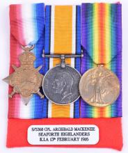 1914-15 Star Medal Trio Corporal Archibald Mackenzie Seaforth Highlanders Killed in Action 13th February 1916