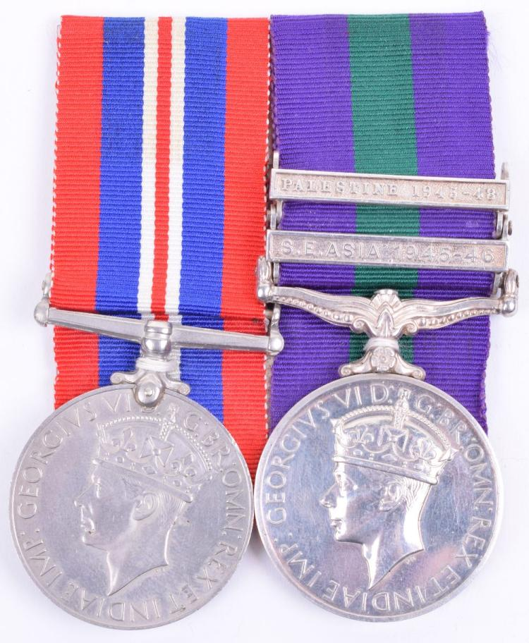 WW2 & General Service 1918 – 1962 Medal Pair 225th Parachute Field Ambulance Royal Army Medical Corps