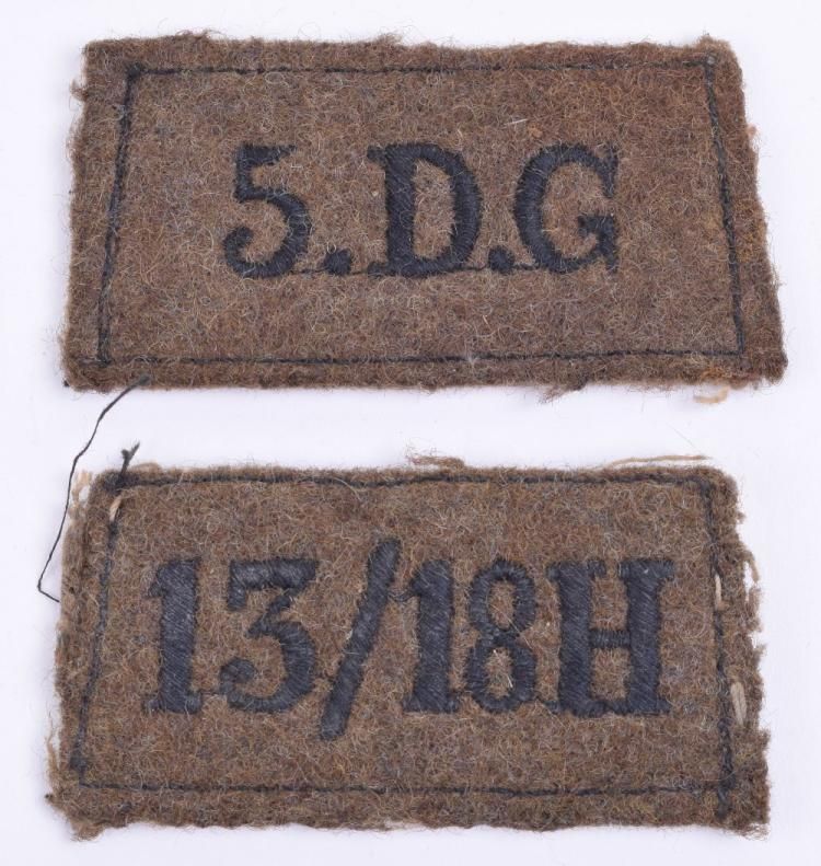 Scarce WW2 5th Dragoon Guards & 13/18th Hussars Black on Khaki Slip on Shoulder Titles