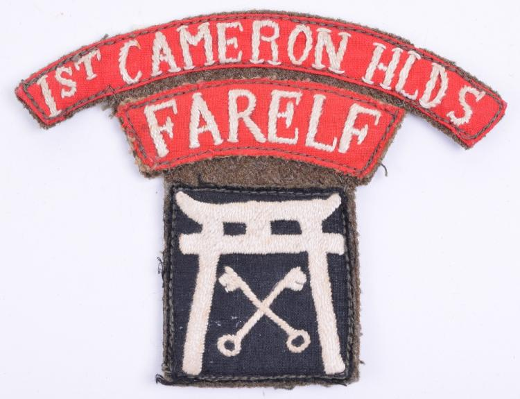 WW2 1st Battalion Cameron Highlanders Far East Land Forces 25th Independent Infantry Brigade Combination Insignia