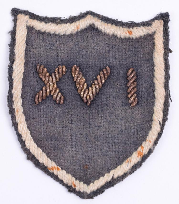 Very Rare 16th Brigade Group Cloth Formation Sign,