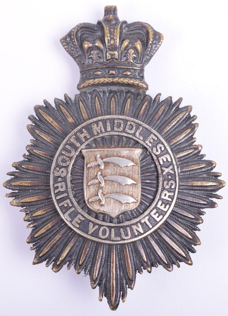 Victorian South Middlesex Rifle Volunteers Officers Shako Plate