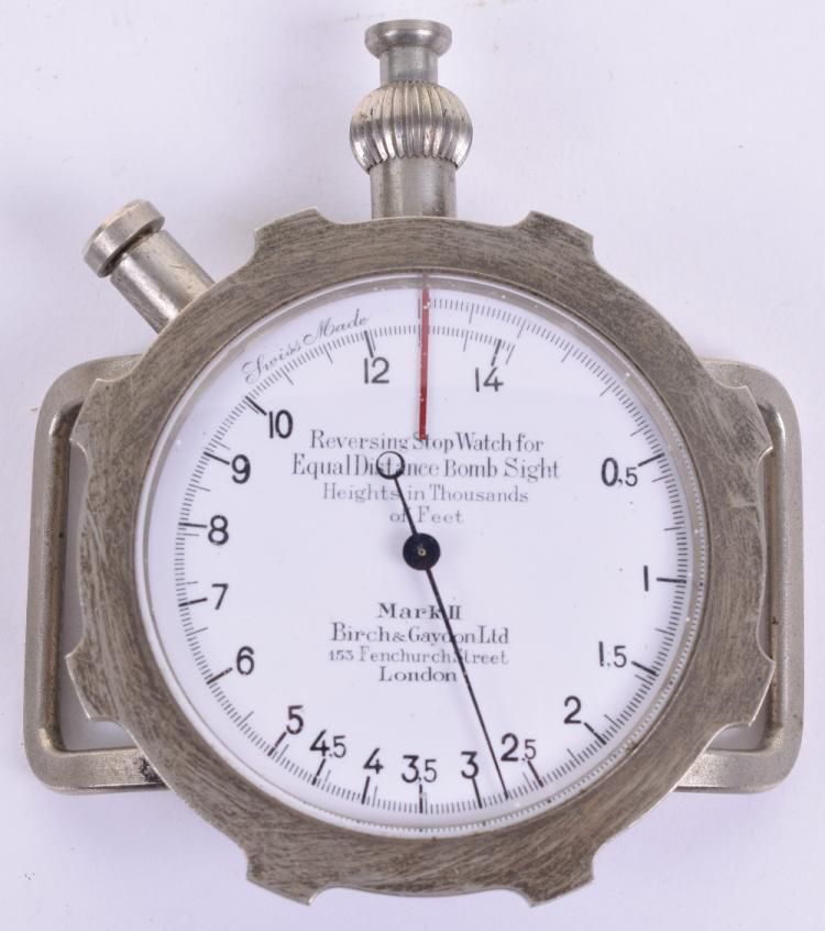 Rare WW1 Birch & Gaydon Ltd Mark II Reversing Stop Watch For Equal Distance Bomb Sight Circa 1916