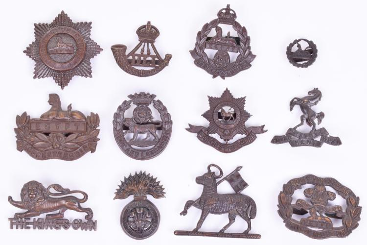 Selection of British Infantry Officers Bronze Cap Badges