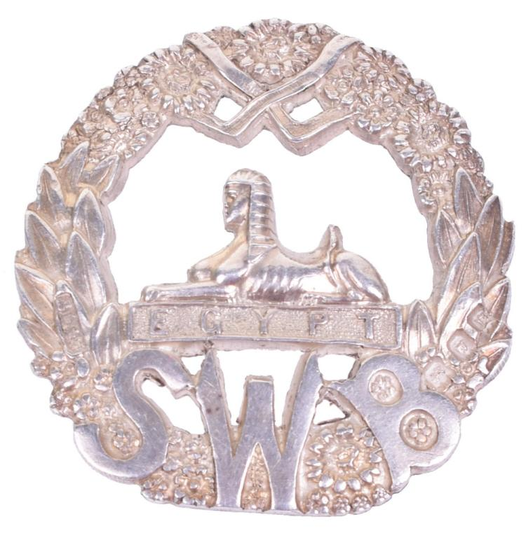 Great War Hallmarked Silver South Wales Borderers Officers Cap Badge