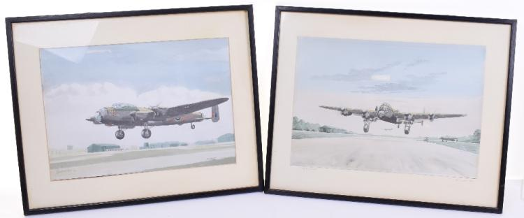 Pair of Watercolour Paintings by John Larder of the City of Lincoln Lancaster Bomber