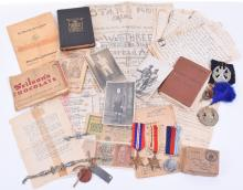 WW2 North Africa Prisoner of War Medal and Paperwork Grouping with Ephemera of Waffen SS British Free Korps Division Interest