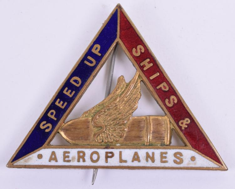WW1 Home Front Speed Up Ships & Aeroplanes Enamel Badge