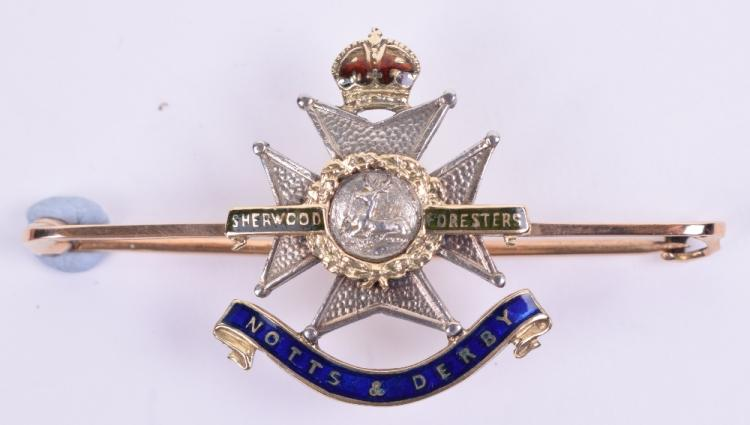 Fine Quality 15ct Gold and Enamel Notts & Derby Regiment Sweetheart Brooch