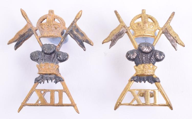 12th (Prince of Wales) Royal Lancers Officers Collar Badges