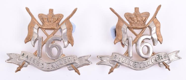 Victorian Troopers 16th Queens Lancers Collar Badges