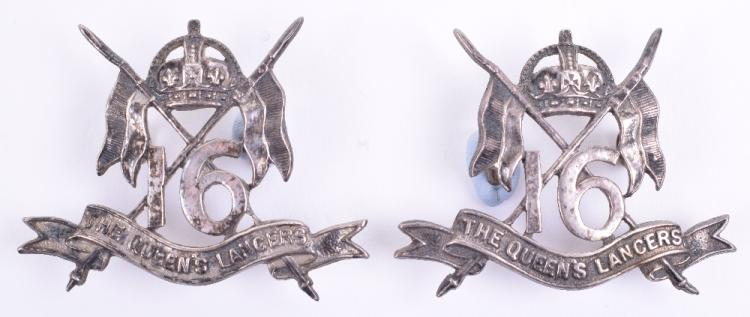 Pair of Officers Silvered 16th The Queens Lancers Collar Badges