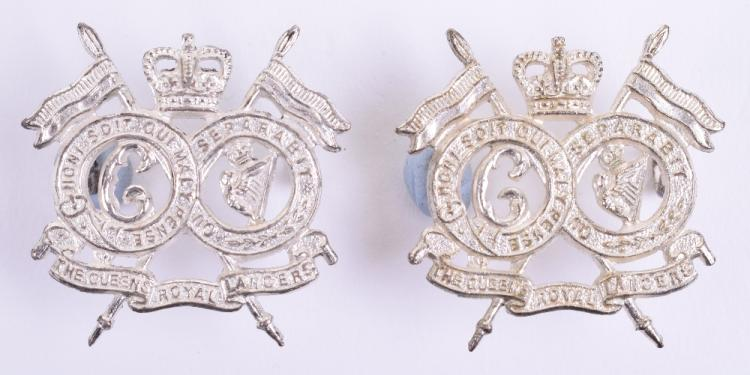 Pair of Officers Silvered Queens Royal Lancers Collar Badges