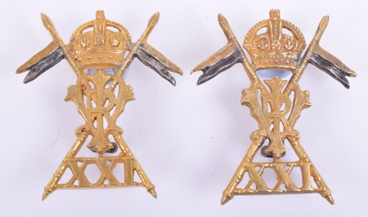 Pair of Officers 21st (Empress of India) Lancers Collar Badges
