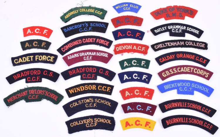 Selection of C.C.F, Schools & Army Cadet Force Shoulder Titles