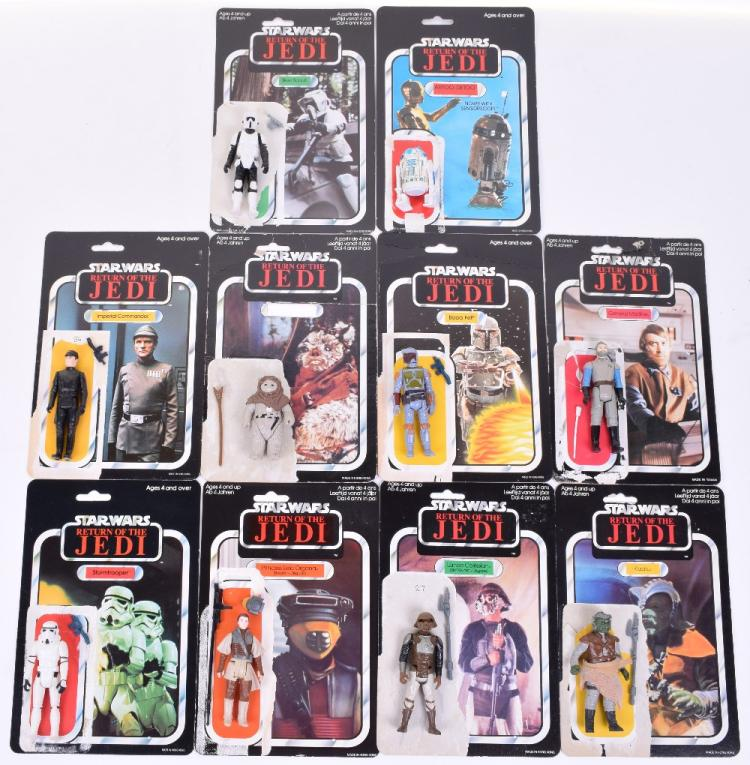 10x Vintage Star Wars Action Figures with Return of the Jedi 65 Card Back