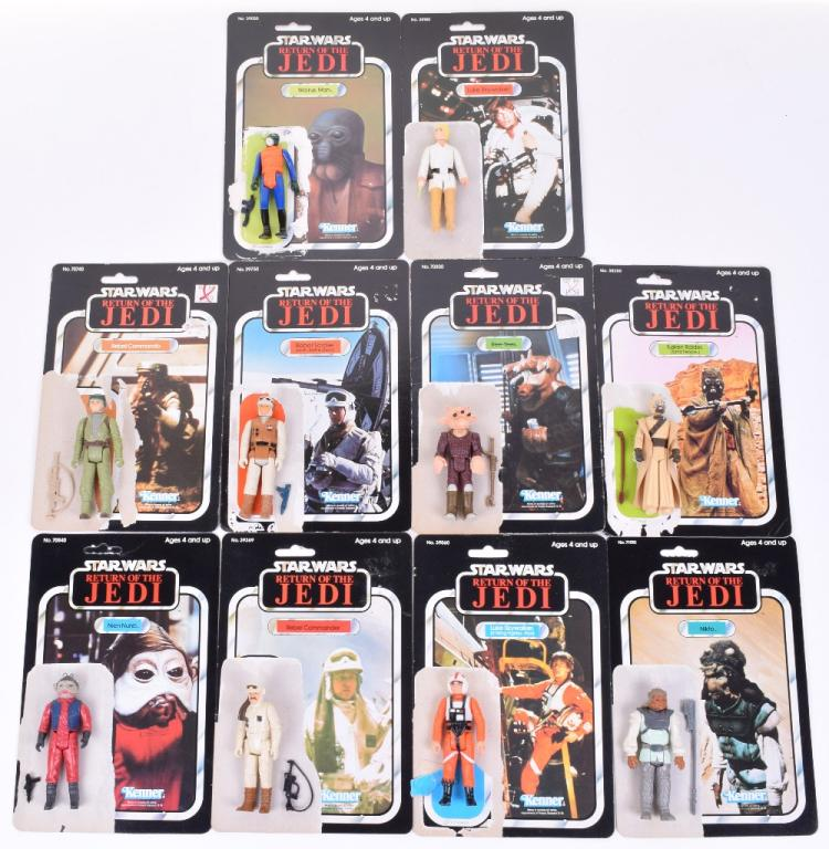 10x Vintage Star Wars Action Figures with Return of the Jedi 77 Card Backs,