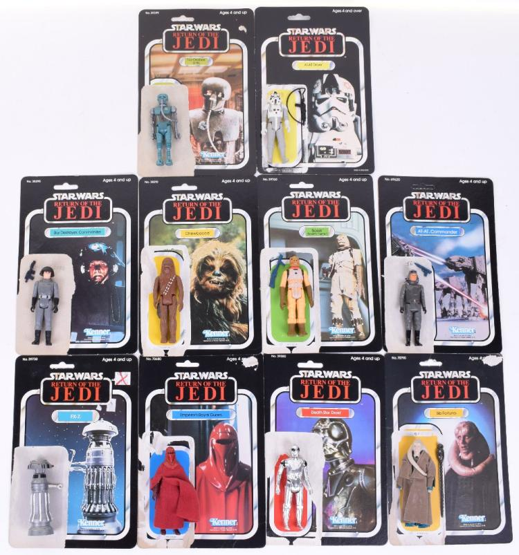 10x Vintage Star Wars Action Figures with Return of the Jedi Card Backs