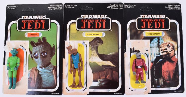 Star Wars Return of the Jedi Palitoy / General Mills Hybrid Tri-Logo Card Backs and Action Figures