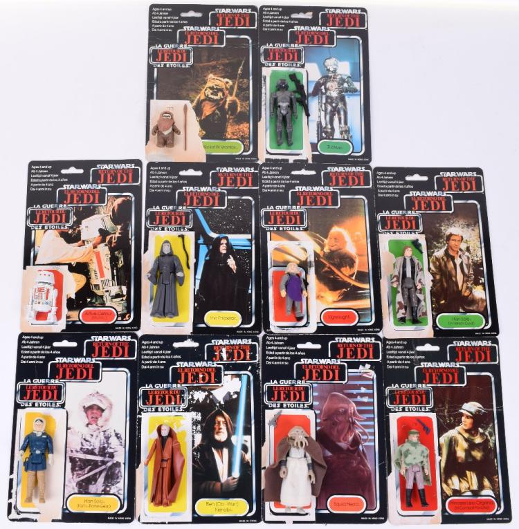 10x Vintage Star Wars Action Figures with Palitoy / General Mills Tri-Logo Card Backs